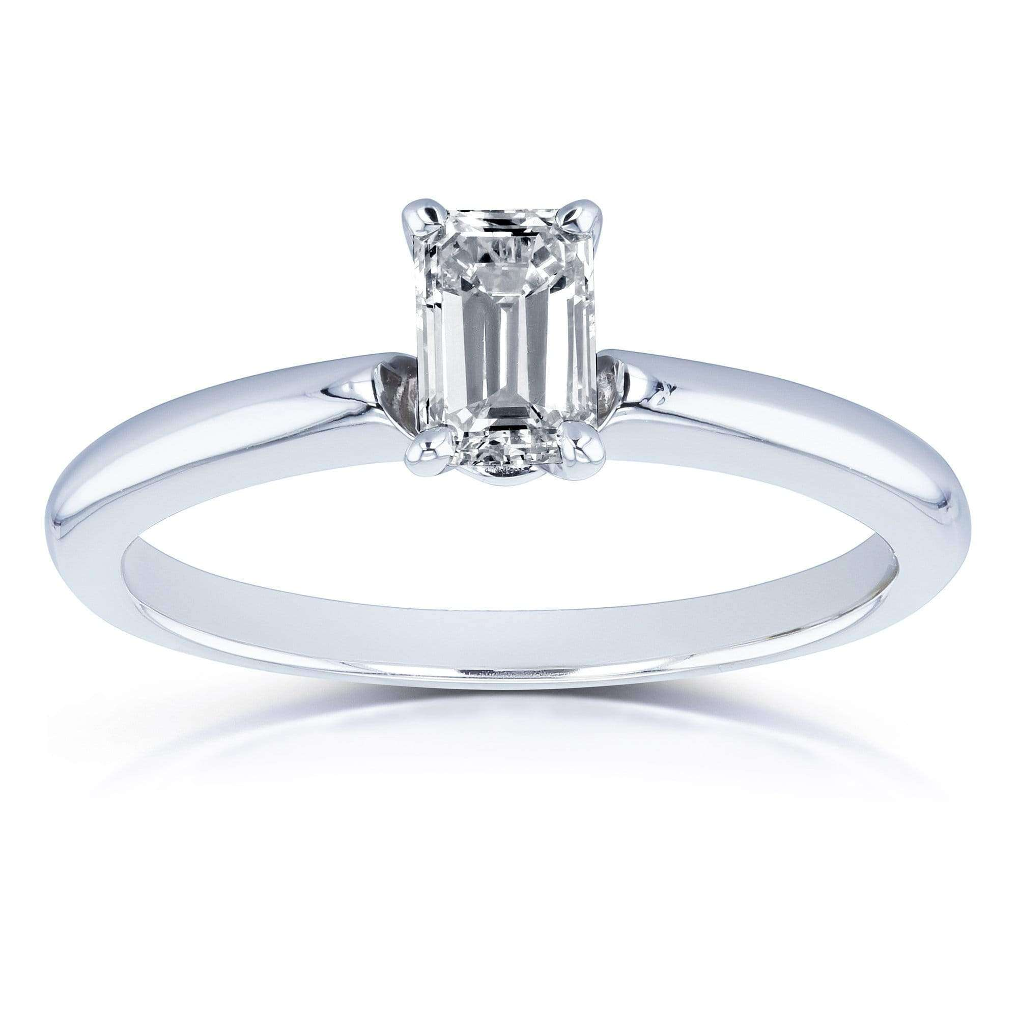 Solitaire Emerald Cut 1 2 Carat Diamond Engagement Ring in 14k White Gold b70e9921aa12