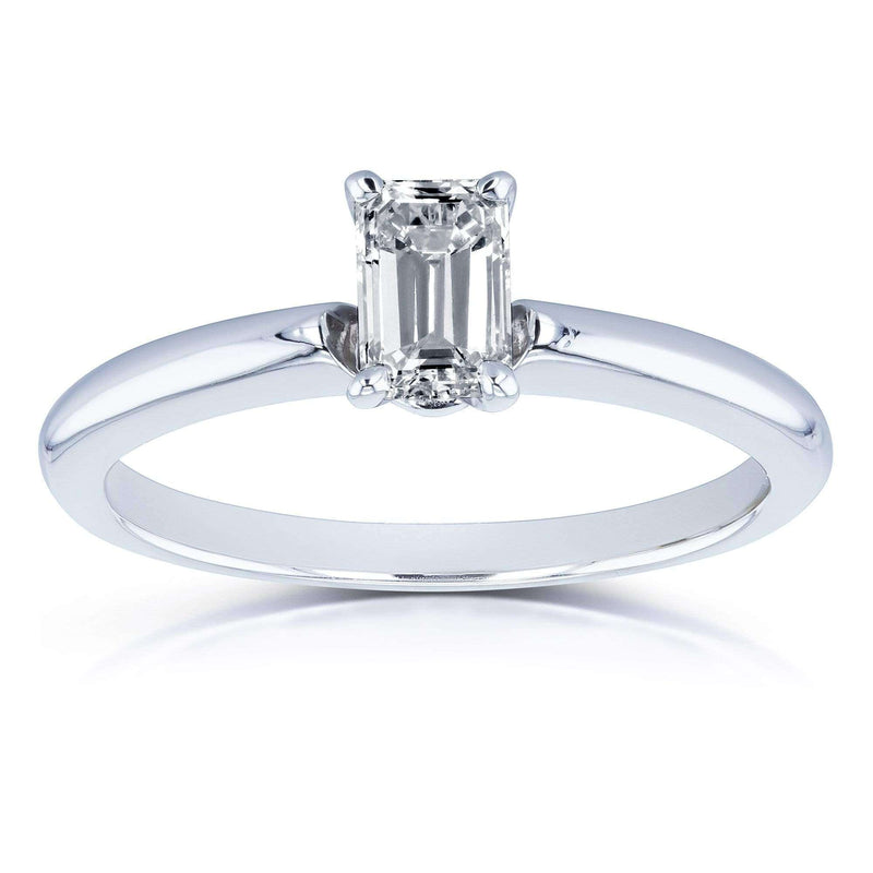 Kobelli Solitaire Emerald Cut 1/2 Carat Diamond Engagement Ring in 14k White Gold