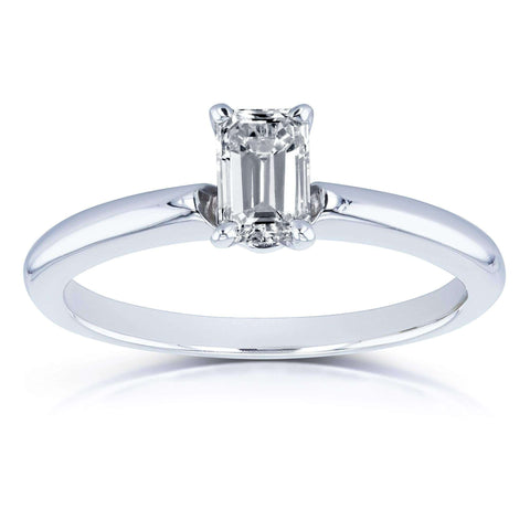 Emerald Cut Diamond Solitaire Engagement Ring in 14k White Gold