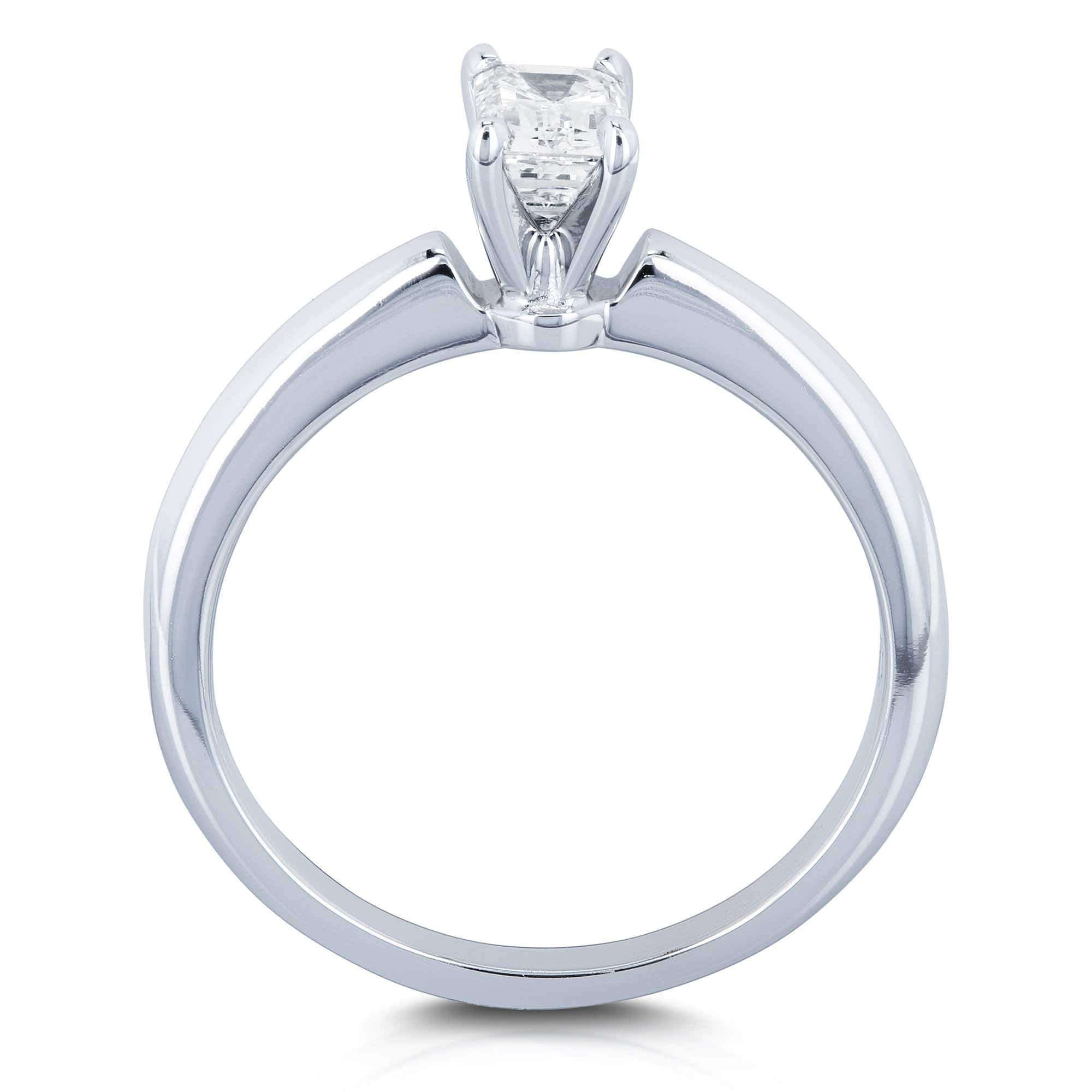 423732f3f98 Solitaire Emerald Cut 1/2 Carat Diamond Engagement Ring in 14k White G