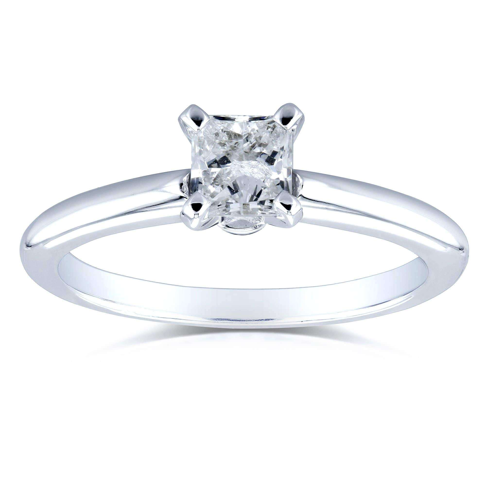 a78273400f70e Solitaire Princess Cut 1/2 Carat Diamond Engagement Ring in 14k White Gold