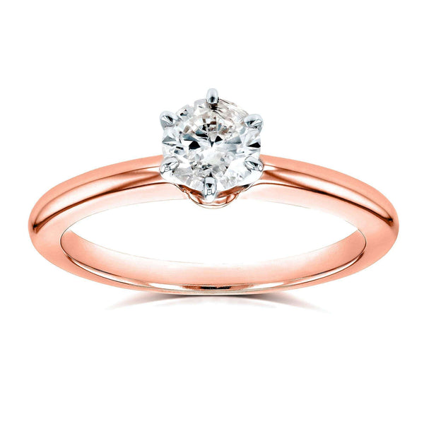 Kobelli Round Diamond Solitaire Petite Engagement Ring 1/2 Carat in 14k Rose Gold
