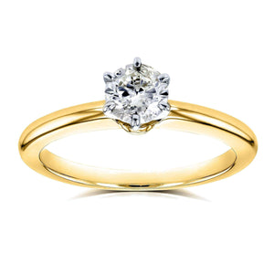 Kobelli Round Diamond Solitaire Petite Engagement Ring 1/2 Carat in 14k Yellow Gold