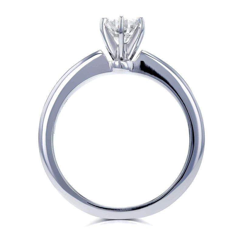 Kobelli Round Diamond Solitaire Petite Engagement Ring 1/2 Carat in 14k White Gold