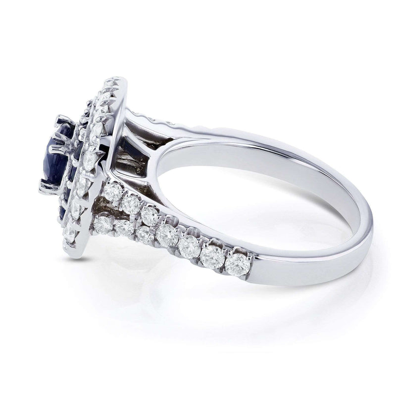 Kobelli Sapphire and Diamond Double Halo Ring 14k White Gold (1 7/8 CTW)