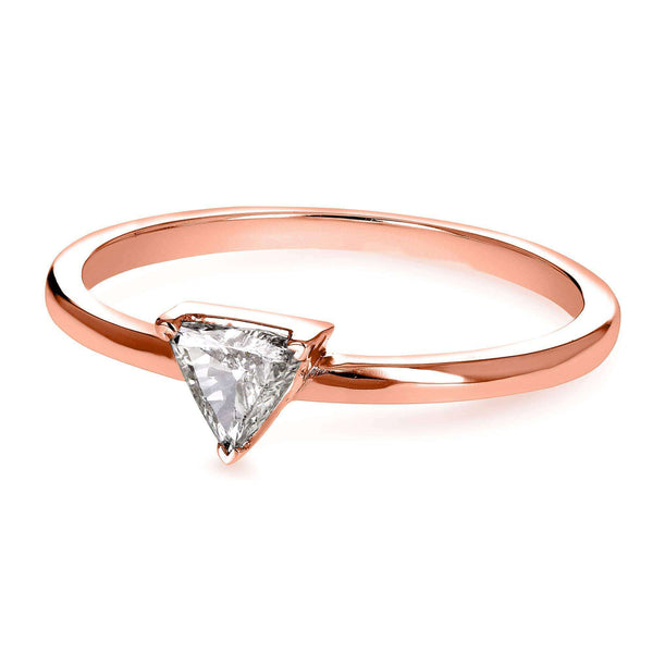 Kobelli Solitaire 1/6 Carat Triangular Diamond (HI/SI) Petite Ring in 14k Rose Gold