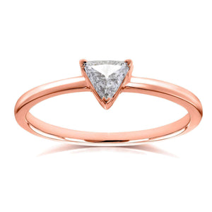 Kobelli Solitaire 1/6 Carat Triangular Diamond Petite Ring in 14k Rose Gold