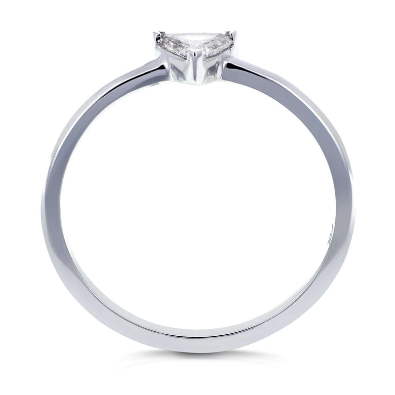 Kobelli Solitaire 1/6 Carat Triangular Diamond (HI/SI) Petite Ring in 14k White Gold