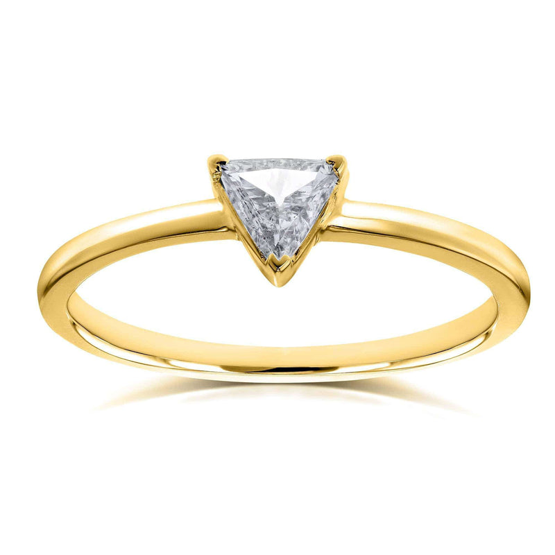 Kobelli Solitaire 1/6 Carat Triangular Diamond (HI/SI) Petite Ring in 14k Yellow Gold