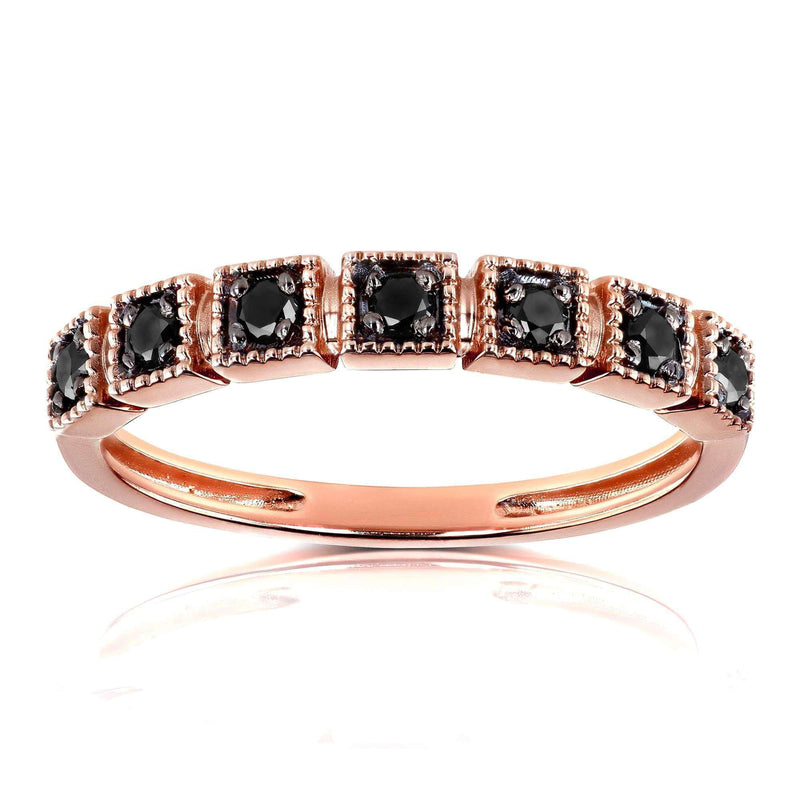 Kobelli Black Diamond Wedding Ring 1/6ct TDW in 10k Rose Gold