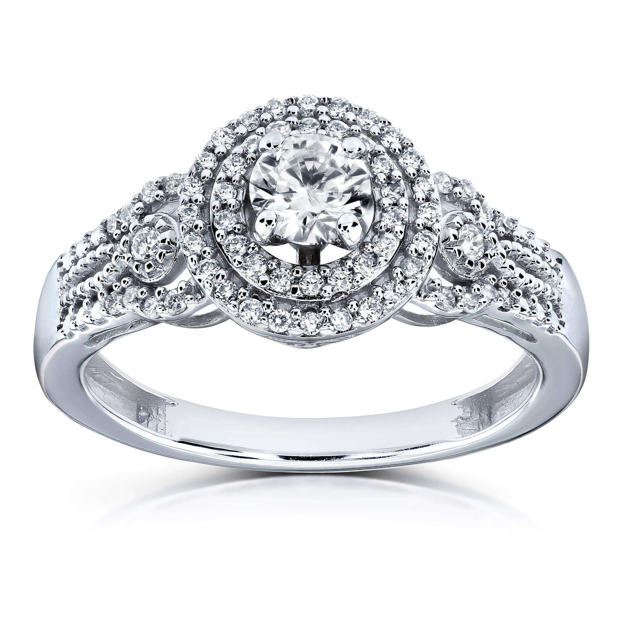 Best Double Halo Composite 1/2 Carat TW Diamond Fancy Engagement Ring in 14k White Gold - 4