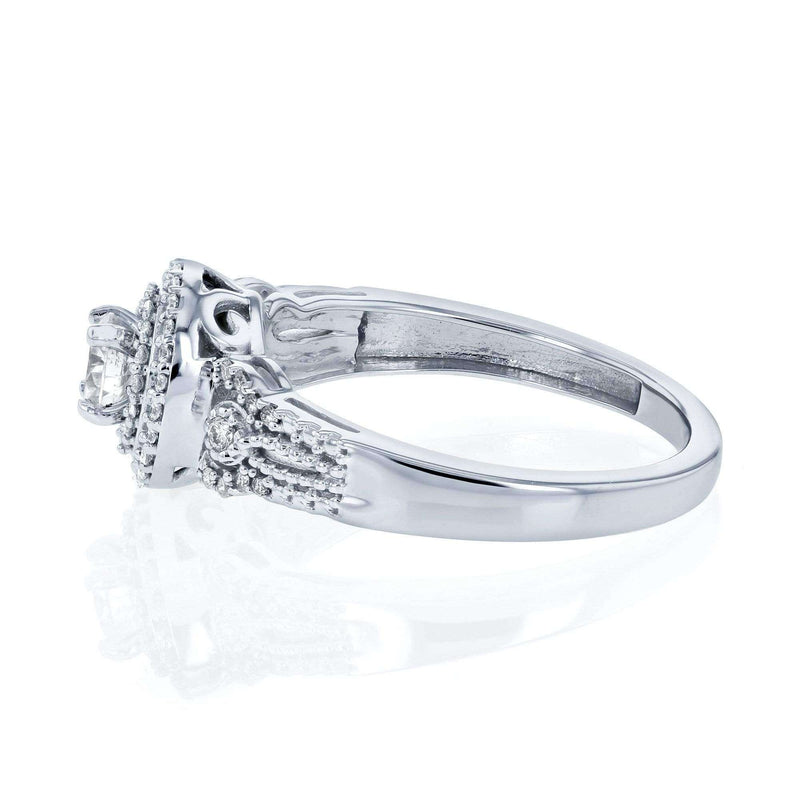 Kobelli Double Halo Composite 1/2 Carat TW Diamond Fancy Engagement Ring in 14k White Gold