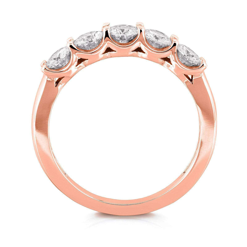 Kobelli Round Five Stone Diamond Prong-set Wedding Band 1 CTW 14k Rose Gold