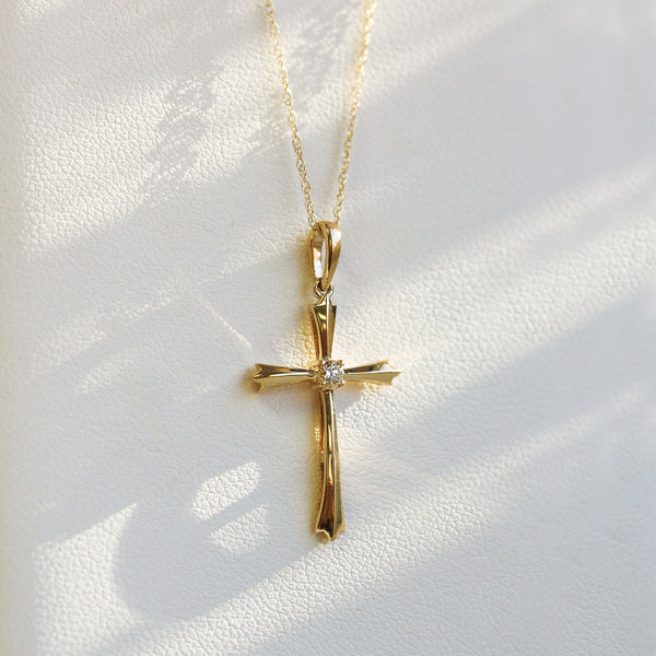 Solitaire Diamond Cross Pendant Flared Arms in 10k Gold