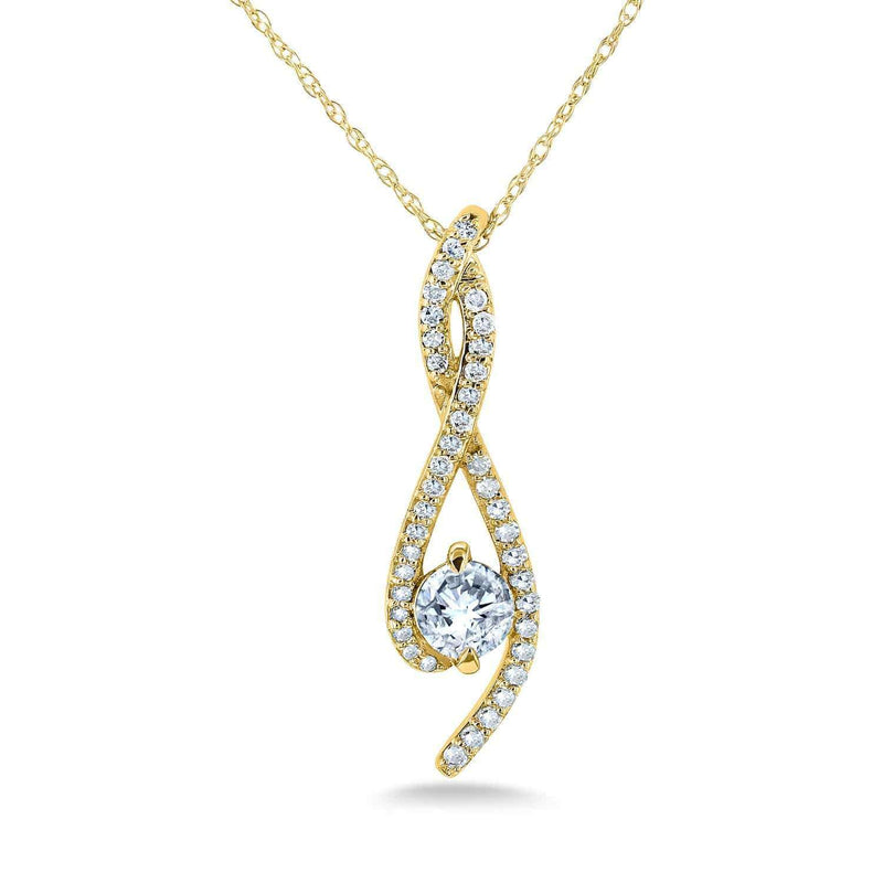 Kobelli Diamond Ribbon Necklace 1/2 Carat TDW in 10k Gold 62344-Y