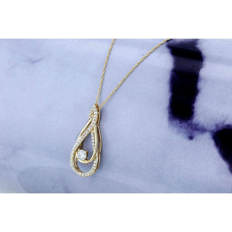 Kobelli Diamond Looping Pendant and Chain 1/4ct TDW in 10k Gold