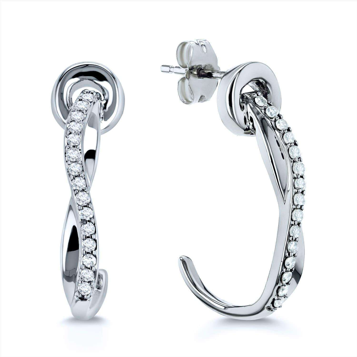 Diamond Curve Hook Earrings 1/5ct TDW in 10k Gold
