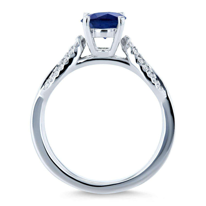 Kobelli Unique Round Blue Sapphire and Diamond Engagement Ring 1 1/10 CTW 14k White Gold