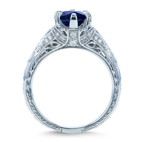 Kobelli Sapphire and Diamond 6-Prong Antique Engagement Ring 1 1/6 CTW 14k White Gold