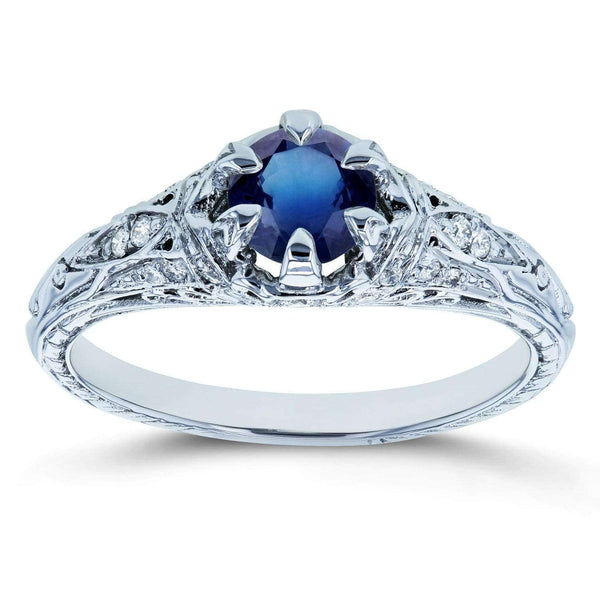 Kobelli Sapphire and Diamond 6-Prong Antique Engagement Ring 5/8 CTW 14k White Gold