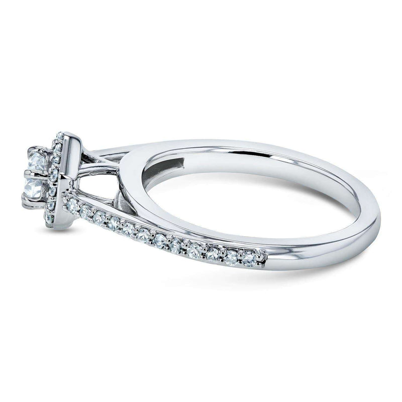 Kobelli Diamond Hexagon Halo Engagement Ring 1/2ct TDW in 10k White Gold
