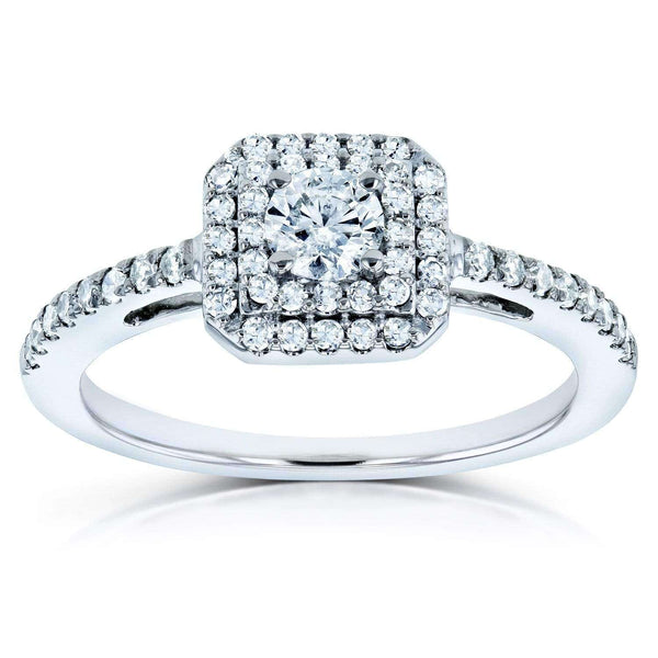 Kobelli Diamond Double Halo Engagement Ring 1/2ct TDW in 10k White Gold