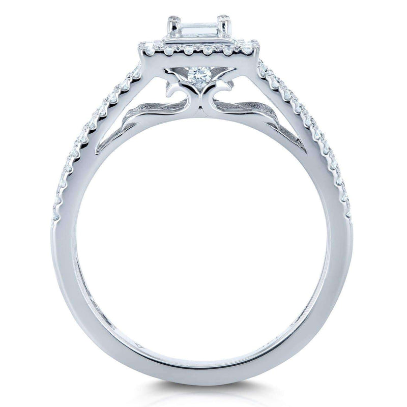 Kobelli Diamond Princess Halo Split Band Engagement Ring 1/2ct TW 14k White Gold