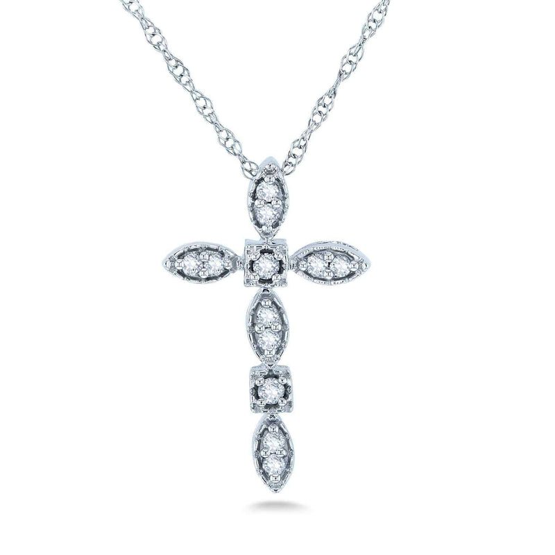 Kobelli Diamond Cross Pendant and Chain 1/10ct TCW in 10k White Gold 62382