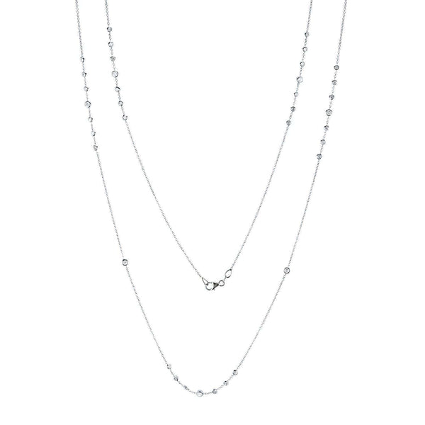 Kobelli Diamond 30 Inch Station Necklace 1 1/2 CTW 14k White Gold 62383