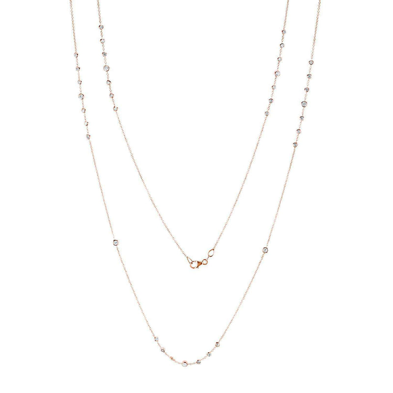 Kobelli Diamond 42 Inch Station Necklace 2 CTW 14k Rose Gold 62384-R
