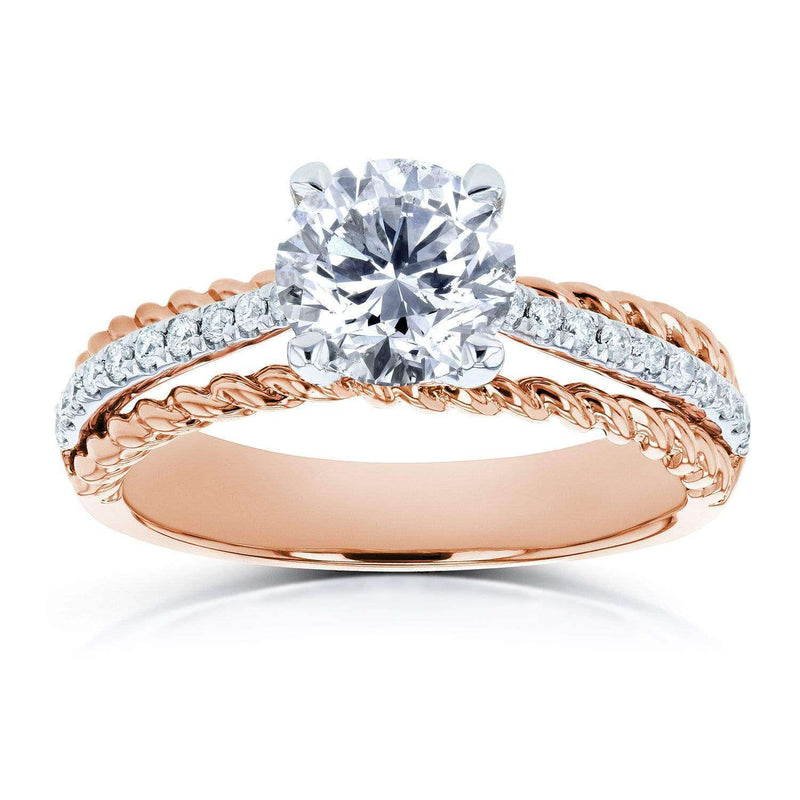 Kobelli Diamond Unique Engagement Ring 1 1/6 TCW in 14k Two Tone Gold