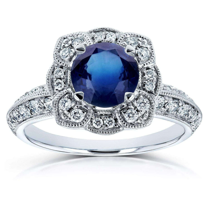 Kobelli Blue Sapphire and Diamond Floral Engagement Ring 1 1/2 CTW 14k White Gold