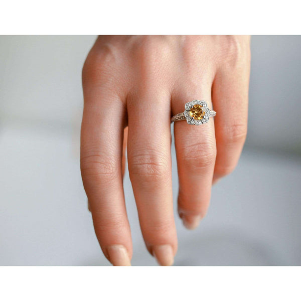 Kobelli Citrine Ornate Floral Vintage White Gold Ring