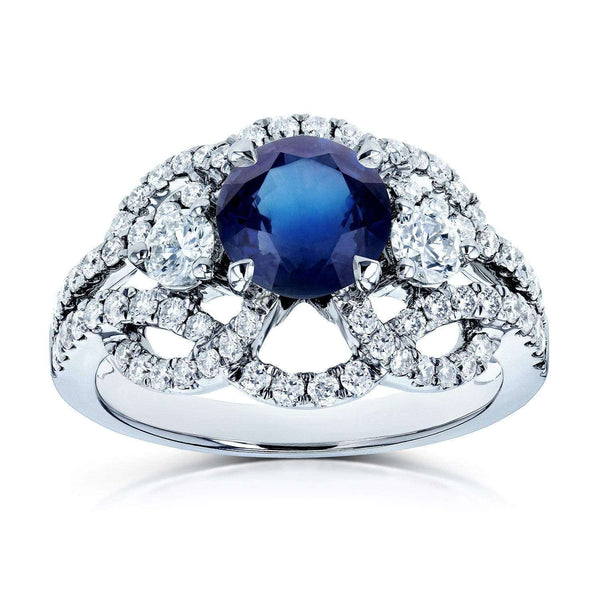 Kobelli Blue Sapphire and Diamond Celtic Knot Filigree Ring 1 3/4 CTW 14k White Gold