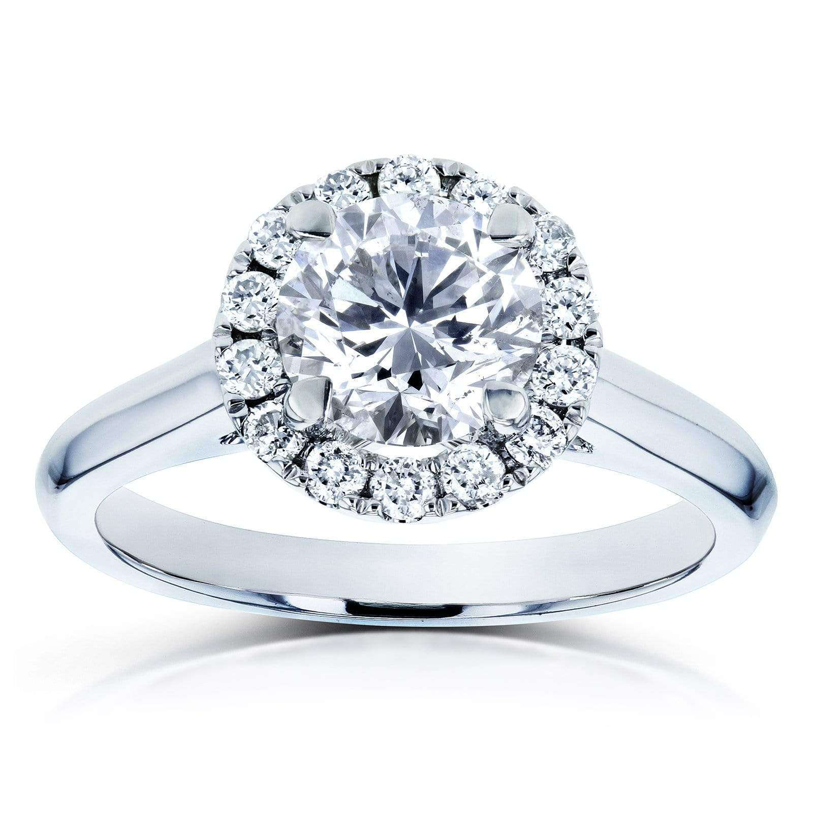 Top Diamond Halo Engagement Ring 1 1/4 TCW in 14k White Gold - 11