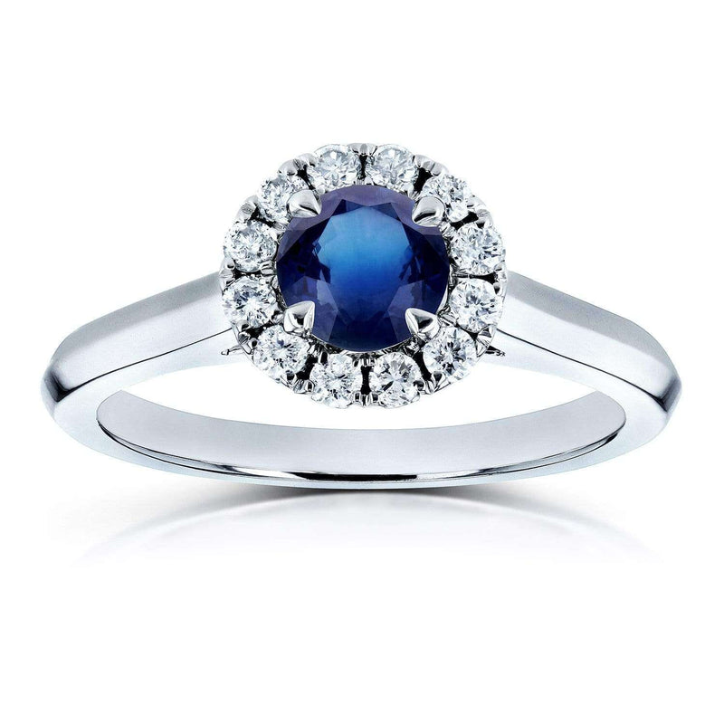 Kobelli Blue Sapphire and Diamond Halo Cathedral Setting Engagement Ring 3/4 CTW 14k White Gold