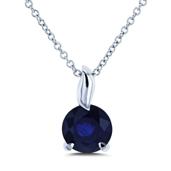 Kobelli Round Blue Sapphire Pendant and Chain Solitaire Necklace in 14k White Gold 62395RBS