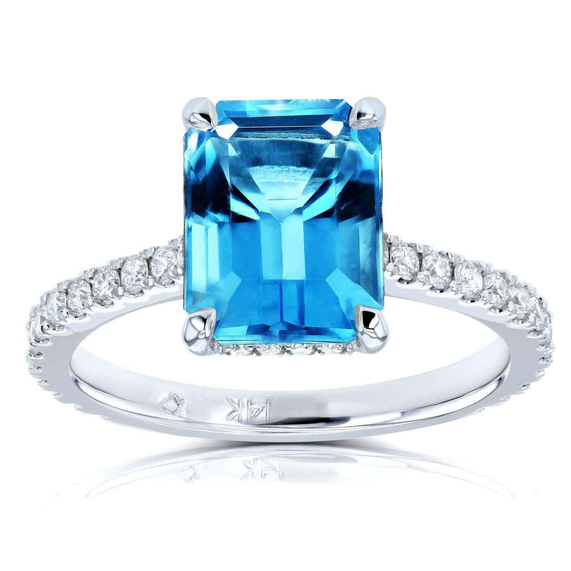 Kobelli Diamond Basket Head Emerald Swiss Blue Topaz Gemstone Ring 3 1/6ct CTW 14k White Gold