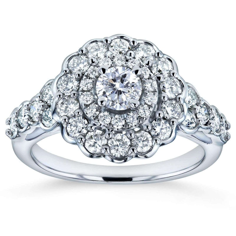 Kobelli Diamond Floral Double Halo Engagement Ring 1 1/10 CTW 14k White Gold