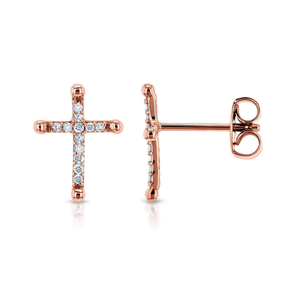 Kobelli Religious Diamond Cross Earrings 1/8 CTW 10k Rose Gold 62435-R