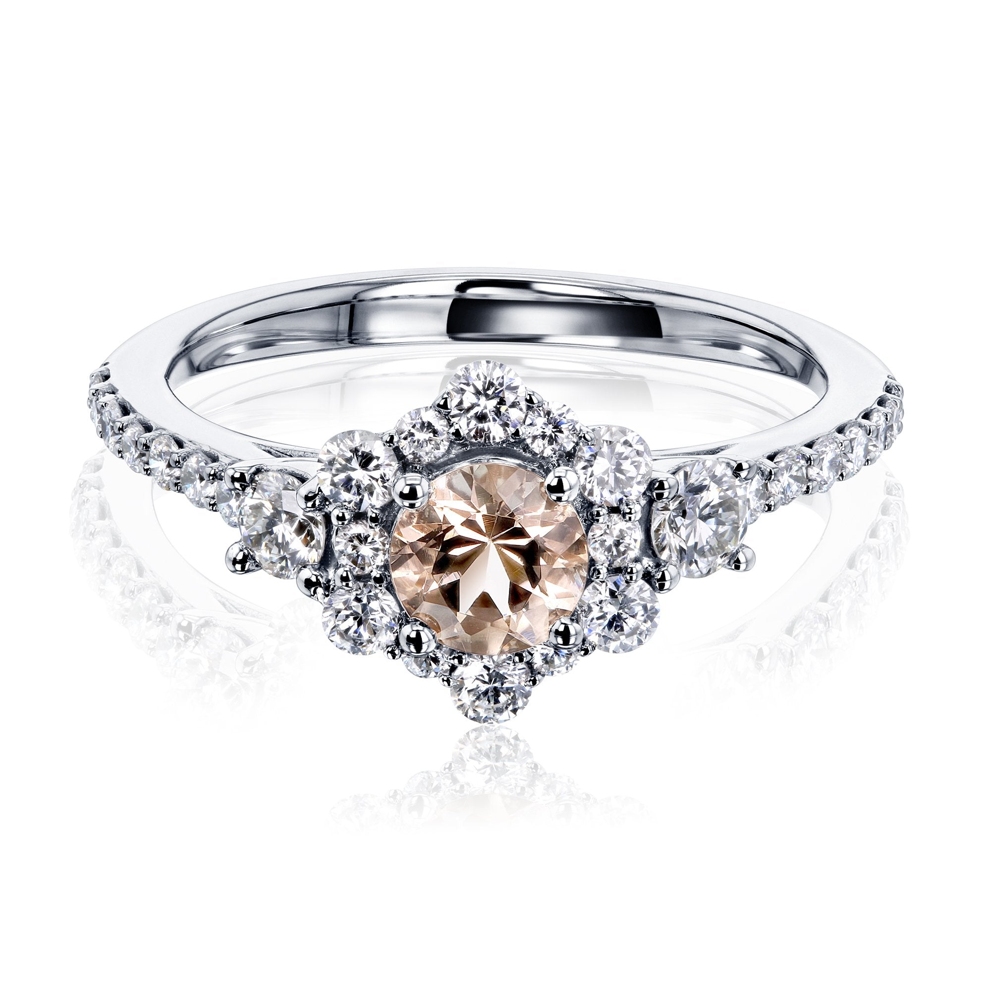 Cheap Morganite Starry Floral Engagement Ring - 7.5