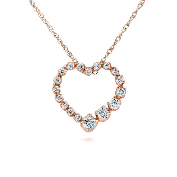 Kobelli Diamond Journey Heart Pendant 1/4 CTW 10k Rose Gold 62437-R