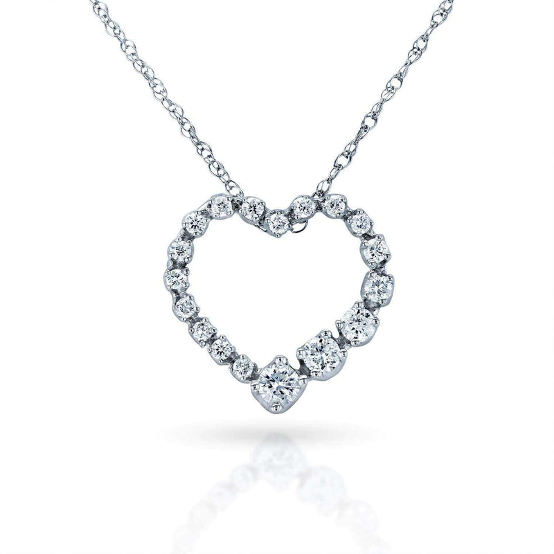 Kobelli Diamond Journey Heart Pendant 1/4 CTW 10k White Gold 62437-W