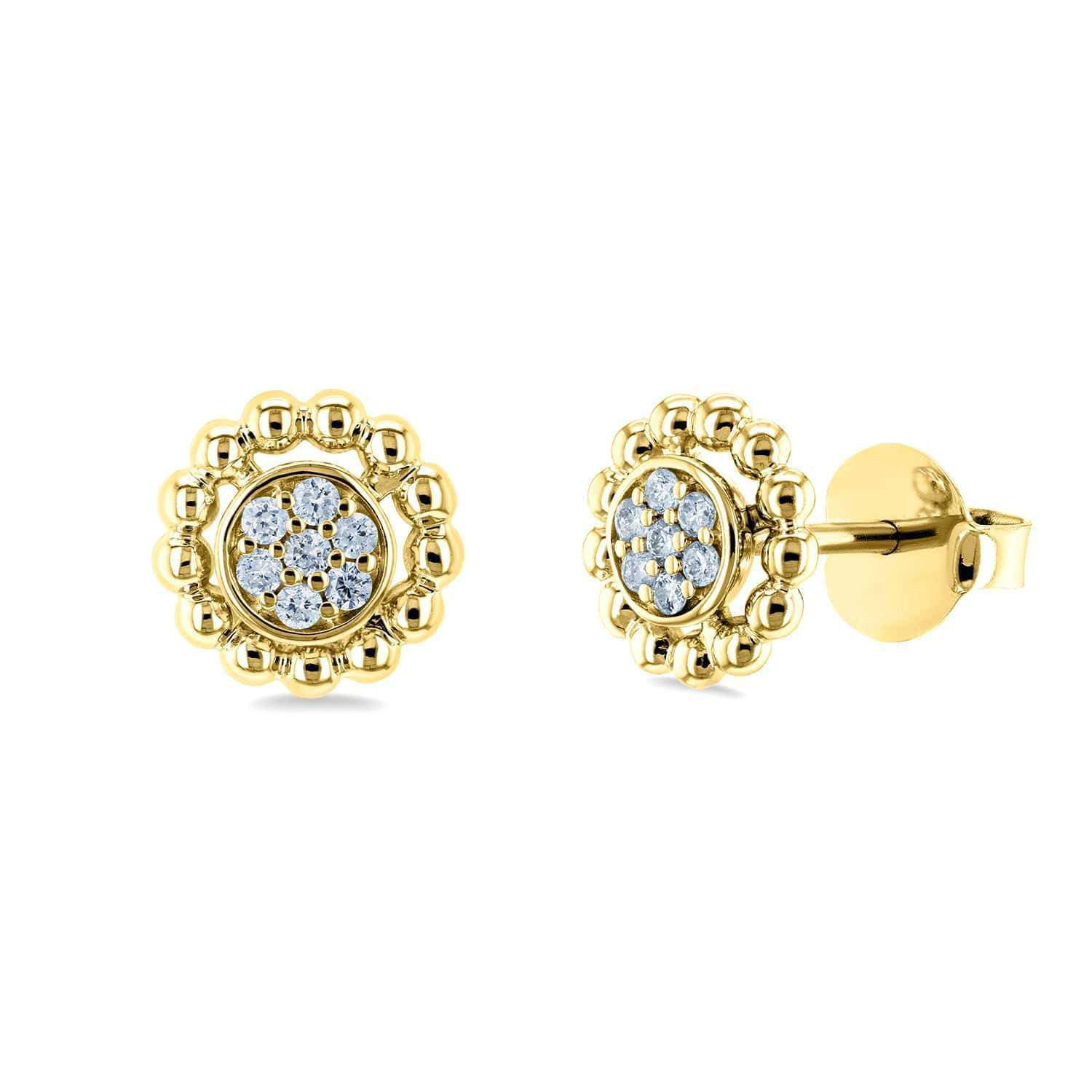 Round Diamond Cluster Flower Stud Earrings 1/8 CTW 10k Yellow Gold <p>A cluster of diamonds is central to these floral yellow gold earrings. The earrings secure easily with traditional posts and butterfly backs. </p>