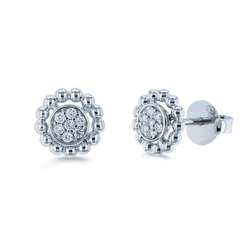 Kobelli Round Diamond Cluster Flower Stud Earrings 1/8 CTW 10k White Gold 62438-W