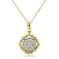 Kobelli Diamond Cluster Gold Reef Necklace 10k Yellow Gold (1/6 CTW) 62439-Y