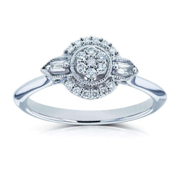 Kobelli Unique Diamond Engagement Ring 1/6 CTW 10k White Gold