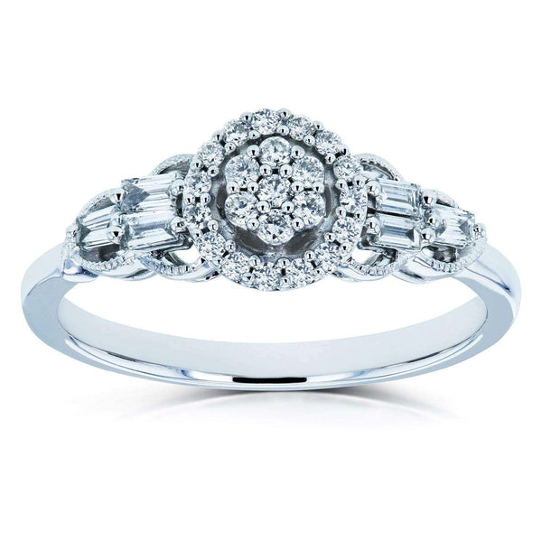 Kobelli Unique Diamond Engagement Ring 1/4 CTW 10k White Gold