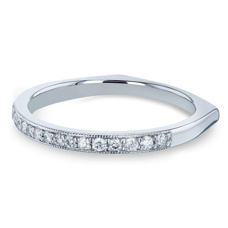 Kobelli Diamond Pave-set Milgrain Square Shank Wedding Band 1/5 CTW 14k White Gold