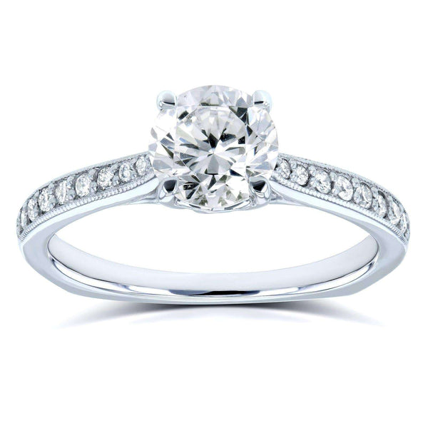 Kobelli Diamond Vintage Trellis Engagement Ring 1 1/5 CTW 14k White Gold